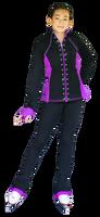 ChloeNoel JS792 Color Contrast Elite Figure Skating Jacket w/ Pockets & Thumb Holes & Swarovski Crystal Design 3rd view