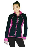 ChloeNoel JS792 Color Contrast Elite Figure Skating Jacket w/ Pockets & Thumb Holes & Swarovski Crystal Design