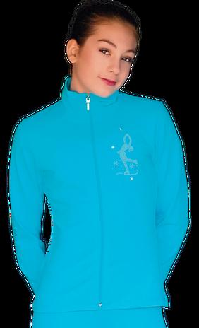 ChloeNoel JT811 Solid  Fleece Fitted  Elite Figure Skating Jacket w/ Mini Lay-Back Skater Crystals Combination