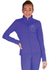 ChloeNoel JT811 Solid  Fleece Fitted  Elite Figure Skating Jacket w/  Blue Ribbon Crystals Combination 2nd view