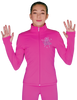 ChloeNoel JT811 Solid  Fleece Fitted  Elite Figure Skating Jacket w/  Blue Ribbon Crystals Combination 3rd view