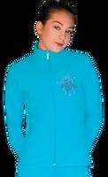 ChloeNoel JT811 Solid  Fleece Fitted  Elite Figure Skating Jacket w/  Blue Ribbon Crystals Combination