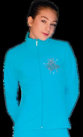 ChloeNoel JT811 Solid  Fleece Fitted  Elite Figure Skating Jacket w/ Mini Fuchsia Ribbon Crystals Combination