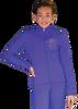 ChloeNoel JT811 Solid  Fleece Fitted  Elite Figure Skating Jacket w/ Mini Fuchsia Ribbon Crystals Combination 2nd view