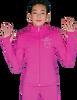 ChloeNoel JT811 Solid  Fleece Fitted  Elite Figure Skating Jacket w/ Mini Fuchsia Ribbon Crystals Combination 3rd view