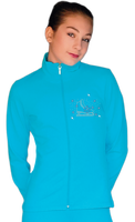 ChloeNoel JT811 Solid  Fleece Fitted  Elite Figure Skating Jacket w/ Skate/Blue Snowflakes Crystals Combination