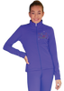 ChloeNoel JT811 Solid  Fleece Fitted  Elite Figure Skating Jacket w/ Skate/Fuchsia Snowflakes Crystals Combination 2nd view