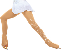 ChloeNoel Over the Boot Ice Skating Tights 3332 Medium Tan  with Crystals