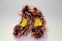 Figure Skating Fuzzy Soakers -CF28 - Black, Yellow and Hot Pink Crazy Fur