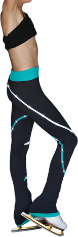 ChloeNoel P618F 2-Tone Piping Light Weight Fleece Figure Skating Pants with matching Swarovski crystals