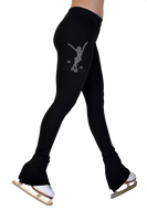 "ChloeNoel P622F All Black 3"" Waist Band Light Weight Fleece Figure Skating Pants w/ Mini Jump Skater Crystals Combination"