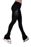 "ChloeNoel P622F All Black 3"" Waist Band Light Weight Fleece Figure Skating Pants w/ Mini Lay-Back Skater Crystals Combination"