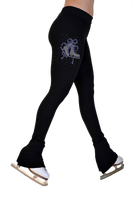 "ChloeNoel P622F All Black 3"" Waist Band Light Weight Fleece Figure Skating Pants w/ Mini Blue Ribbon Crystals"