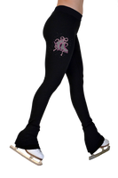 "ChloeNoel P622F All Black 3"" Waist Band Light Weight Fleece Figure Skating Pants w/ Mini Fuchsia Ribbon Crystals Combination"