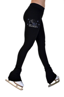 "ChloeNoel P622F All Black 3"" Waist Band Light Weight Fleece Figure Skating Pants w/ Skate/Blue Snowflakes Crystals"