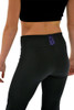 "ChloeNoel P622F All Black 3"" Waist Band Light Weight Fleece Figure Skating Pants with  Purple Swarovski Crystal Blocks"