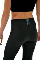 "ChloeNoel P622F All Black 3"" Waist Band Light Weight Fleece Figure Skating Pants Turquoise Swarovski Crystal Blocks"