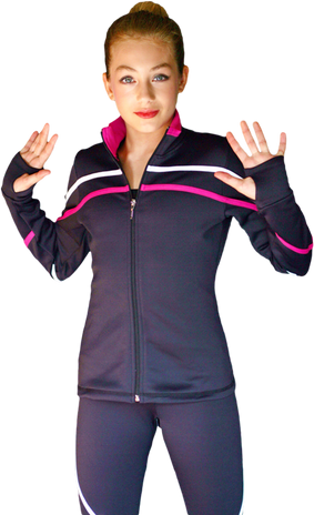 ChloeNoel J618F 2-Tone Piping Light Weight Fleece  Figure Skating Jacket