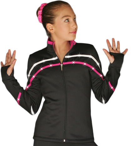 ChloeNoel J618F 2-Tone Piping Light Weight Fleece Figure Skating Jacket with matching Swarovski crystals
