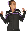 ChloeNoel J618F 2-Tone Piping Light Weight Fleece Figure Skating Jacket with matching Swarovski crystals 2nd view