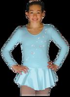 ChloeNoel DLP728  Plain Solid Sanded Poly Spandex Dress Light Blue w/ Snow Flakes