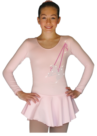 ChloeNoel DLP728  Plain Solid Sanded Poly Spandex Dress Light Solid Pink w/ Ribbon Skate Flakes