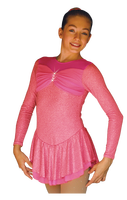 ChloeNoel DLS788 Cinderella Swirls Sparkle Spandex w/ Mesh Dress (Magic Pink)