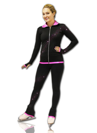 Kami-So Figure Skating Jacket -  Crystal Spiral Pink