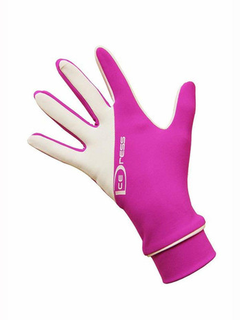 IceDress Two Color Thermal Figure Skating Gloves Sport (Fuchsia / White)