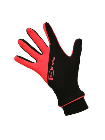 """Icedress - Two Color Thermal Figure Skating Gloves """"IceDress-Sport"""" (Black and Hot Coral)"""