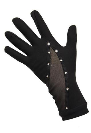 Icedress - Thermal Figure Skating Gloves with Rhinestones Svarowski (Black)