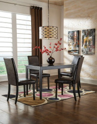 Kimonte Dark Brown 5 Pc. RECT DRM Table & 4 UPH Side Chairs