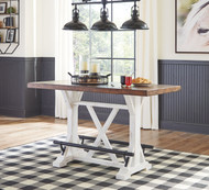 Valebeck White/Brown RECT Dining Room Counter Table