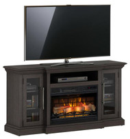 "60"" Granson Espresso Pine Infrared TV Stand Electric Fireplace"