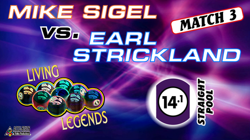 MATCH #3: STRAIGHT POOL: Although he lost, Sigel felt he was the favorite in 14.1. Unfortunately, he couldn't get a break. When he did, there was no easy opener. Stringing several racks, Strickland proved Invincible.  Earl Strickland (3-0) def. Mike Sigel (0-3) 125-7
