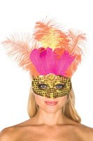 Gold Sequins and Pink Feather Mask