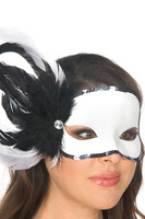 White Mask with Black Feathers and Sequins