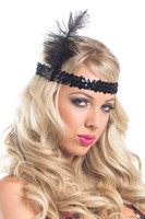 Flapper Sequined Headband with Feather