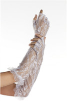 Elbow Length Fingerless Lace Gloves