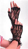 Wrist Length Fingerless Lace Gloves