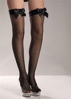 Fishnet Thigh Highs with Bows