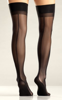 Black Cuban Heel Thigh Highs