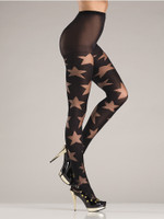 Opaque Star Print Pantyhose
