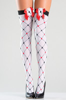 Diamond Design Playing Card Thigh Highs