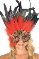 Brown, Red and Black Feather Mask