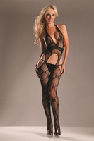 Halter Plunging Bow Lace Bodystocking