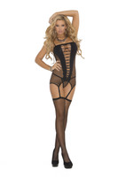 Black Diamond Net Camisette, Stockings & G-String Set