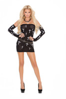 Black Mesh Cross Print Mini Dress