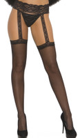Sheer Thigh Highs with Lace Garter Belt