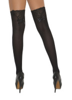 Bow and Lace Trim Thigh Highs